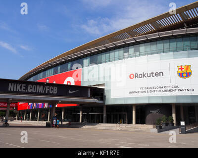 View of the exterior of Camp Nou stadium in Barcelona, Spain - Stock Photo