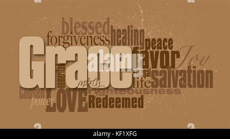 Graphic typographic montage illustration of the Christian concept of Grace composed of associated defining words. - Stock Photo
