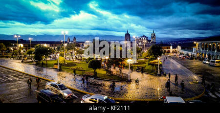 Sunset at Ayacucho Plaza de Armas - Stock Photo