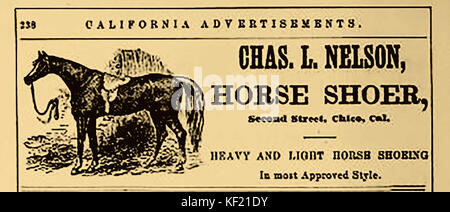 1877 - Historic US advert for Charles L. Nelson , Horse shoer of Second Street, Chico, (city of roses) California - Stock Photo