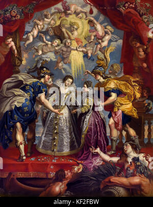 Exchange of Princesses of France and Spain - The Marie de' Medici Cycle 1622-1624  by Peter Paul Rubens commissioned - Stock Photo