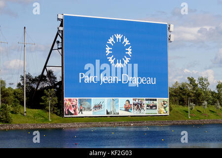 Montreal,Canada,6 June,2017.Sign indicating the Parc Jean Drapeau on Notre-Dame island.Credit:Mario Beauregard/Alamy - Stock Photo