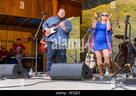 Samantha Martin and Matt Anderson performing at Canmore Folk Music Festival, Canmore, Alberta, Canada - Stock Photo