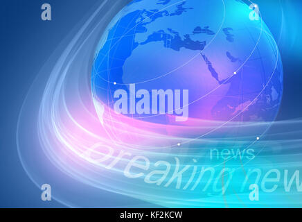 Graphical breaking news blue background with earth globe. - Stock Photo