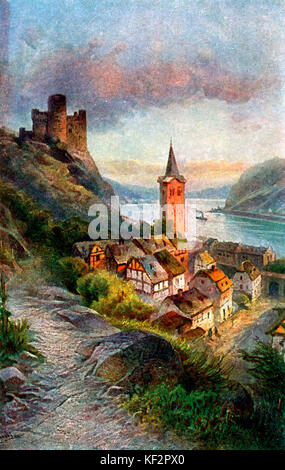 Maus castle/ Burg Maus. From painting of Maus castle, above the village of Wellmich, Rheinland-Pfalz, Germany. Built - Stock Photo