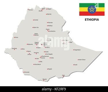 ethiopia map with vector map with flag - Stock Photo