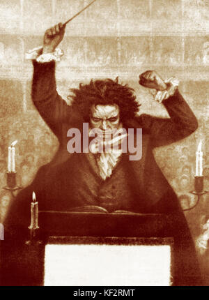 Ludwig van Beethoven conducting with baton - by Katzaroff (artist dates not known) . German composer 17 December - Stock Photo
