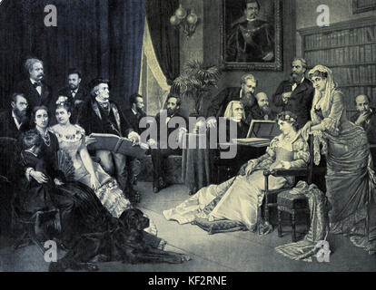 Richard Wagner in Bayreuth with his circle of friends at House Wahnfried.  From left to right: F.V. Lenbach, Siegfried - Stock Photo