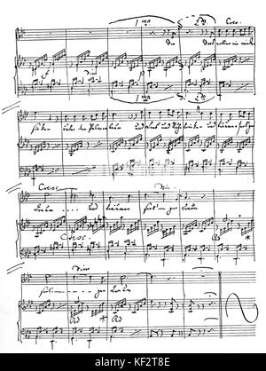 Auf Flügeln des Gesanges by Felix Mendelssohn [On Wings of a Song]. Handwritten score, page 2. German composer, - Stock Photo