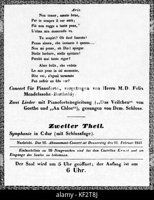 Mozart concert - programme, page 2. 4 February 1841, Gewandeshaus, Leipzig. Arranged and partly performed by Felix - Stock Photo