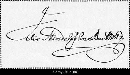 Felix Mendelssohn 's signature. From letter sent to Bietro Machetti in Vienna, Austria, 30 July 1841. FM: German - Stock Photo