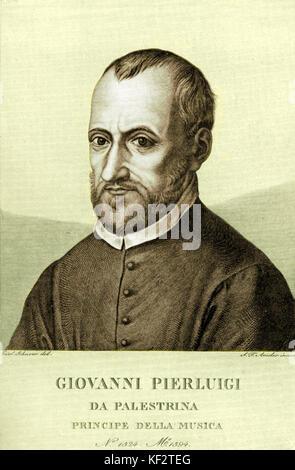 Giovanni Pierlucci Palestrina - portrait engraving. Italian composer 1525-1594 - Stock Photo