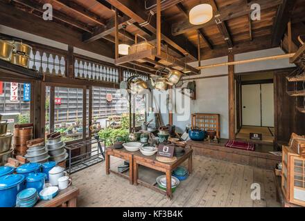 Interior of 'Maruni Shoten' Kitchenware Store at Edo Tokyo Open Air Architectural Museum, Tokyo, Japan | Innenaufnahme - Stock Photo