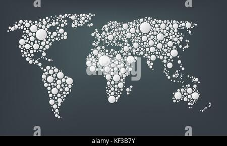 Design of a dots map of the world. Abstract world map made from large white round points isolated on a dark background. - Stock Photo
