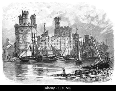 1890: Caernarfon Castle, often anglicized as Carnarvon Castle, is a 13th Centuty medieval fortress in Caernarfon, - Stock Photo