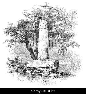1890: The Pillar of Eliseg — also known as Elise's Pillar or Croes Elisedd  — stands near Valle Crucis Abbey, Denbighshire, - Stock Photo