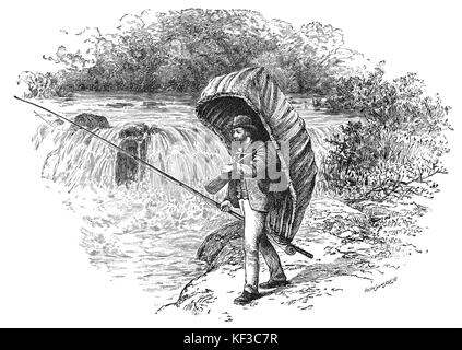 1890: An angler with his coracle on the The River Teifi in Pembrokeshire, South Wales - Stock Photo