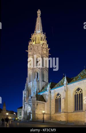 Floodlit Matyas Church at night Castle District Upper Buda Budapest Hungary - Stock Photo