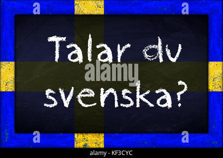 talar du svenska (translation: do you speak swedish) language education concept on chalkboard blackboard with wooden - Stock Photo