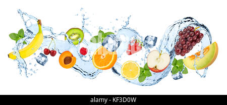 multivitamin  water splash wave with various fruits peppermint leafs and ice cubes isolated on white background - Stock Photo