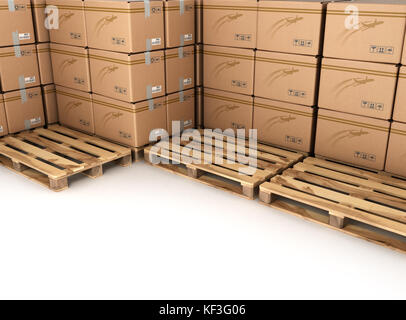Cargo, delivery and transportation industry concept: stacked cardboard boxes on wooden shipping pallet isolated - Stock Photo