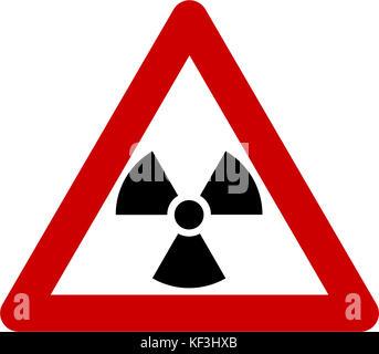 Warning sign with radiation symbol - Stock Photo