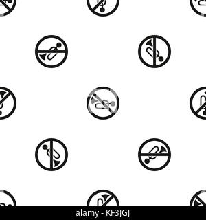 No horn traffic sign pattern seamless black - Stock Photo