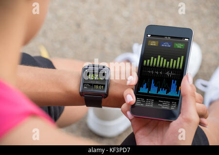 Female Runner Looking At Her Mobile And Smart Watch Heart Rate Monitor - Stock Photo