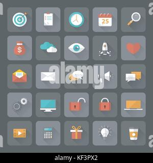 Set of 25 flat office, business, media and web design icons with long shadow effect. Vector illustration eps10 - Stock Photo