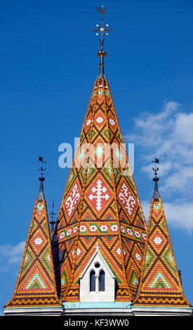 Tiled spire Matyas Church Castle District Upper Buda Budapest Hungary - Stock Photo