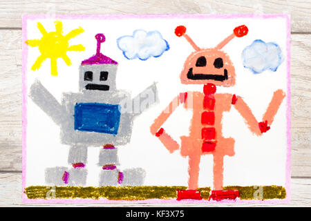 Photo of a colorfful drawing: Two different robots - Stock Photo