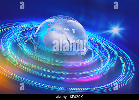 Graphical background of earth and satellite path in space with sun rays. - Stock Photo