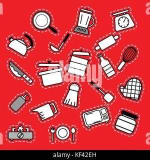 Kitchenware outline icons for tools and appliances equipment isolated vector illustrations on red background - Stock Photo