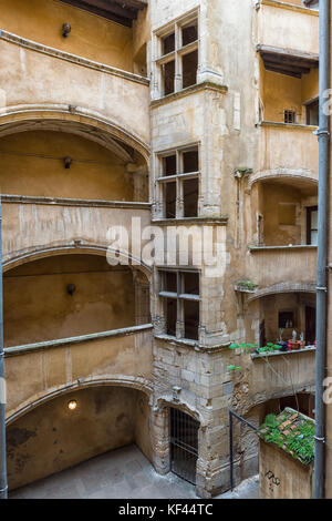 Traboule Les deux Cours, Saint Jean District, Unesco World Heritage Site, Old Lyon, Rhône Alpes, France - Stock Photo