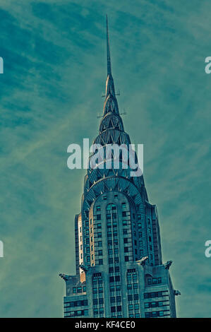 New York City, New York State, United States of America.  The Chrysler Building.  An Art Deco style skyscraper. - Stock Photo