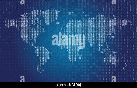 World map made from binary data code - Stock Photo