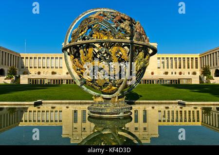 Celestial Sphere Woodrow Wilson Memorial, Palais des Nations, United Nations, Geneva, Switzerland - Stock Photo
