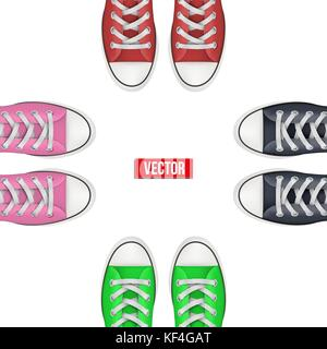 Top view of Colored sneakers. Concept of friendship and traveling together. Vector Illustration isolated on white - Stock Photo