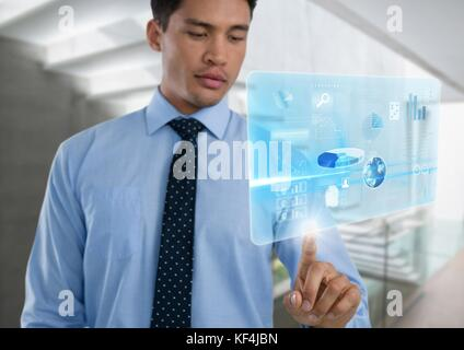 Digital composite of Technology interface and Businessman touching air in front of stairway - Stock Photo