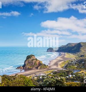 Piha beach with Lion Rock, high angle view. - Stock Photo