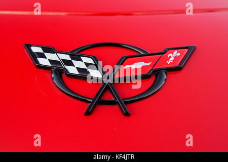 Montreal,Canada,23 August,2011.Close-up of a Chevrolet Corvette emblem sold in Quebec.Credit:Mario Beauregard/Alamy - Stock Photo