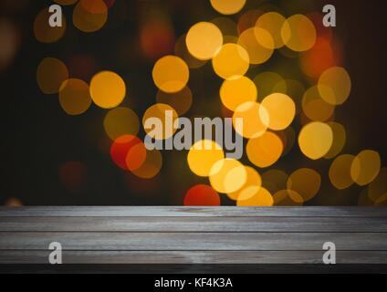 Digital composite of Wooden floor with Christmas theme background - Stock Photo