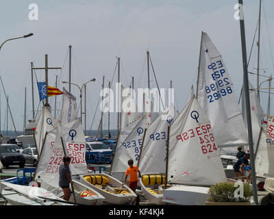 young people preparing for a sailing regatta,Club Maritino de San Antonio de la playa, Can Pastilla, Arenal area, - Stock Photo