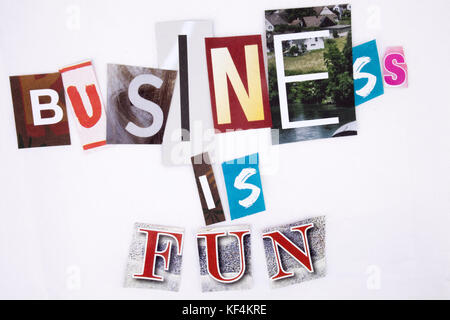 A word writing text showing concept of Business made of different magazine newspaper letter for Business concept - Stock Photo