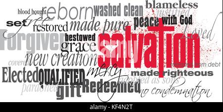 Graphic typographic montage illustration of the Christian concept of Salvation composed of associated words and - Stock Photo