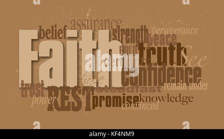 Graphic typographic montage illustration of the Christian word Faith composed of associated words and concepts. - Stock Photo