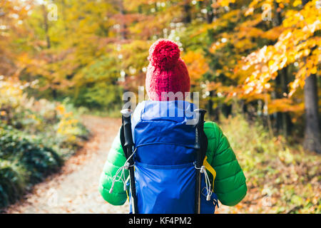 Hiking woman with backpack looking at inspirational autumn golden woods. Fitness travel and healthy lifestyle outdoors - Stock Photo