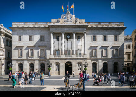 town hall landmark government building at sant jaume square in old town of barcelona spain - Stock Photo