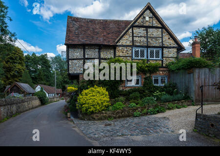 Traditional houses of the village of Shere in the Guildford district of Surrey, United Kingdom - Stock Photo