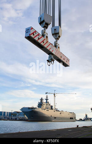 France, North-Western France, Brittany, Saint-Nazaire, Landing Helicopter Dock, Russian Mistral class helicopter - Stock Photo